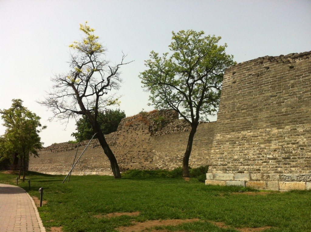 Part of the old city wall, between Qianmen and Dongbianmen. There is now quite a nice park running along it.